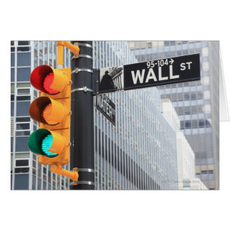 Traffic Light and Wall Street Sign Card
