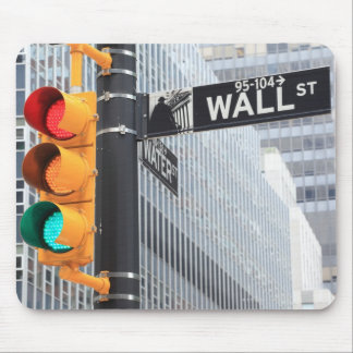 Traffic Light and Wall Street Sign Mouse Mat