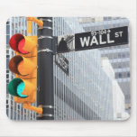Traffic Light and Wall Street Sign Mouse Pad