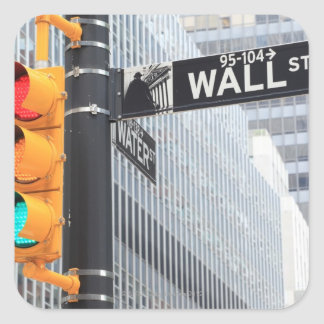 Traffic Light and Wall Street Sign Square Sticker