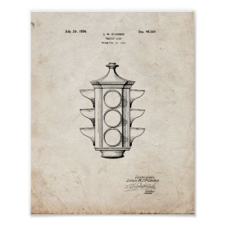 Traffic Light Patent - Old Look Poster