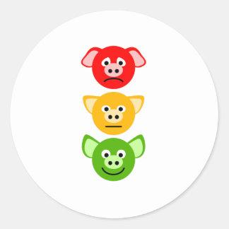 Traffic Light Pigs Round Stickers