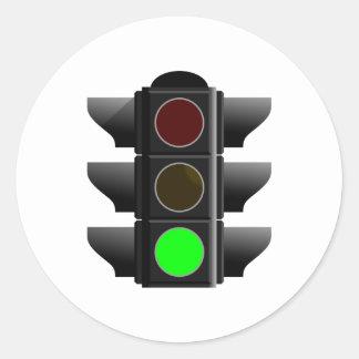 Traffic light traffic light green green classic round sticker