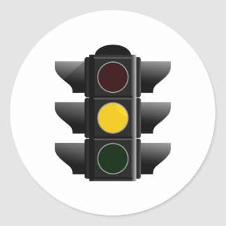 Traffic light traffic light yellow yellow classic round sticker