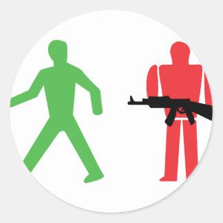 traffic light war round sticker