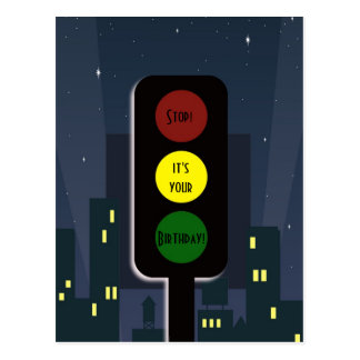 Traffic lights and buildings postcard