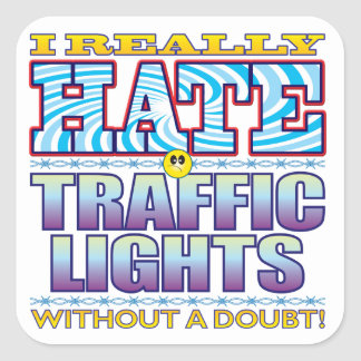 Traffic Lights Hate Face Square Sticker