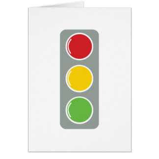 Traffic lights red green amber greeting card