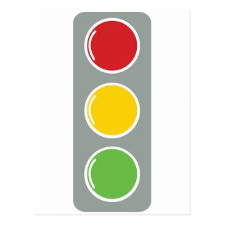 Traffic lights red green amber postcard