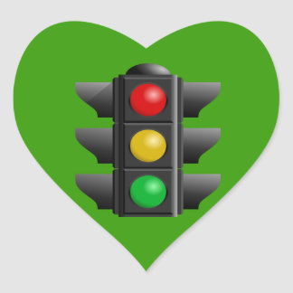 TRAFFIC LIGHTS RED YELLOW GREEN SIGNS DIRECTION HEART STICKER