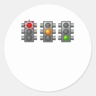Traffic Lights Round Stickers
