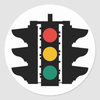 Traffic Lights Street Sign Classic Round Sticker