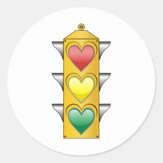 Traffic Love Light Round Stickers