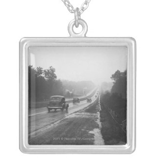 Traffic on highway silver plated necklace
