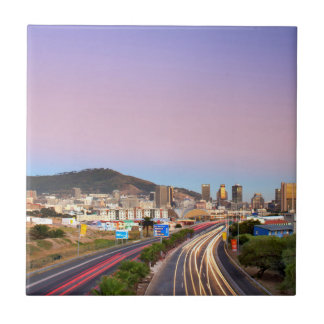 Traffic On Motorway To Cape Town, Western Cape Small Square Tile