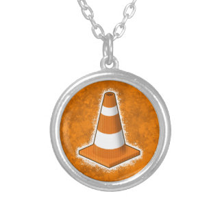 Traffic Safety Cone Splatter Round Pendant Necklace
