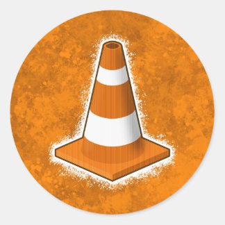 Traffic Safety Cone Splatter Round Sticker