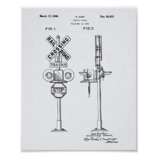 Traffic Signal 1936 Patent Art White Paper Poster