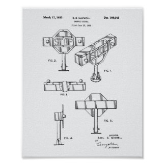 Traffic Signal 1953 Patent Art White Paper Poster