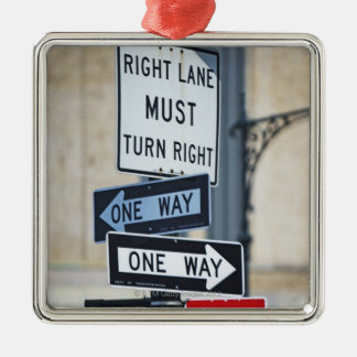 Traffic Signs Silver-Colored Square Decoration