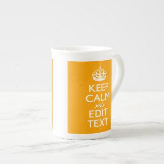 Traffic Yellow Decor Keep Calm And Your Text Bone China Mug