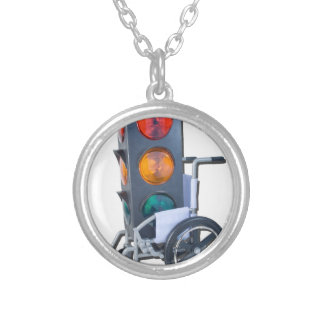 TrafficLightWheelchair052215 Round Pendant Necklace
