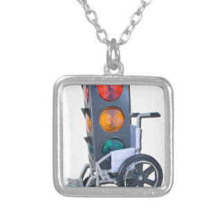 TrafficLightWheelchair052215 Square Pendant Necklace