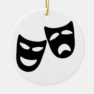 Tragedy and Comedy Masks Round Ceramic Decoration