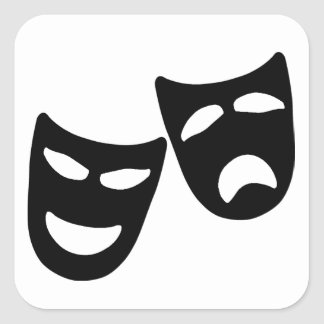 Tragedy and Comedy Masks Square Sticker