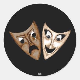Tragedy & Comedy Classic Round Sticker
