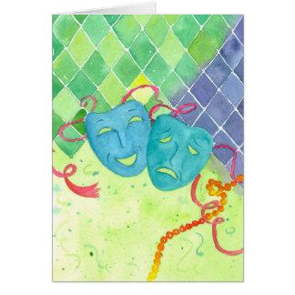 Tragedy Comedy Masks Happy Mardi Gras Greeting Card
