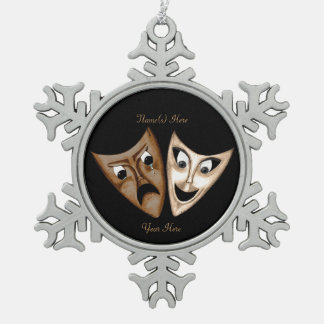 Tragedy & Comedy Snowflake Pewter Christmas Ornament