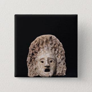 Tragic mask 15 cm square badge