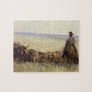 Trail Herd to Wyoming by WHD Koerner Jigsaw Puzzle