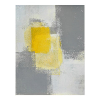 'Trail Mix' Grey and Yellow Abstract Art Poster