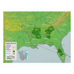 Trail of Tears Native American Relocation Map Poster