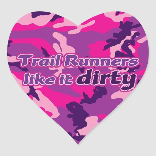Trail Runners Like it Dirty - Pink Camo Heart Sticker