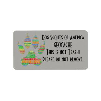 TrailDog Geocache Label Address Label