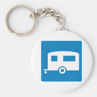 Trailer Camping Highway Sign Basic Round Button Key Ring