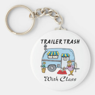 trailer park trash with class basic round button key ring