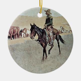 Trailing Texas Longhorns (oil on canvas) Christmas Ornament