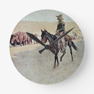 Trailing Texas Longhorns (oil on canvas) Round Clock