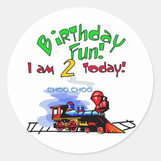 Train 2nd Birthday Tshirts and Gifts Classic Round Sticker