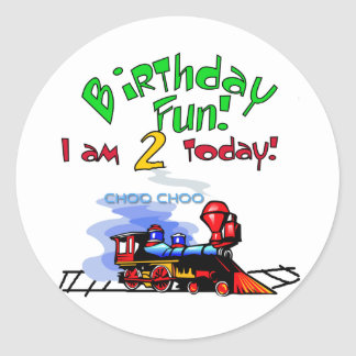 Train 2nd Birthday Tshirts and Gifts Round Sticker