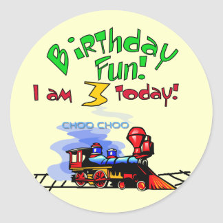 Train 3rd Birthday Tshirts and Gifts Round Sticker