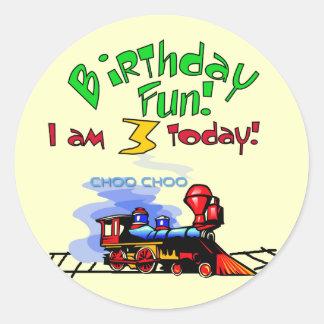Train 3rd Birthday Tshirts and Gifts Round Sticker