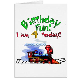 Train 4th Birthday Tshirts and Gifts Card