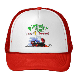 Train 4th Birthday Tshirts and Gifts Trucker Hats