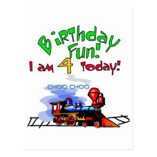 Train 4th Birthday Tshirts and Gifts Postcard