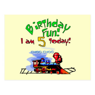 Train 5th Birthday Tshirts and Gifts Postcard